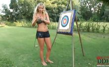 Long-haired blonde amazon Nikita Valentin is acting like Amor outdoors, getting naked showing her big tits & naked body outdoors. The lusty girl enjoys as the sunshine tickles her soft skin, so he is behaving in a truly natural & sensual way... See