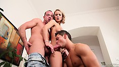 Horny blonde wife with a nice wet pussy banged by the husband and a bisexual male friend
