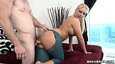 She sticks that cushiony ass against his cock and then rides on it