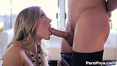 Samantha Saint gets on her knees to eat his cock and then gets nailed