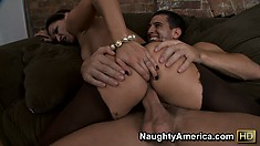 Sexy Ann Marie Rios gets drilled then slides her ass up and down on him
