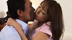 Japanese babe makes out with her man and gets attention to her ass
