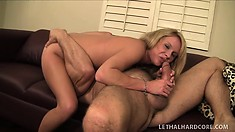Hot blonde slut begs her man to give her a steamy cum facial