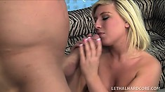 Chesty Blond Heidi Hollywood chokes down his big dick before screwing it