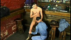 Horny cowboy strokes his own dick while his friend pounds his butt hole