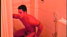Ricco Dkados has a shower cam and puts on a solo masturbation show