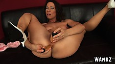 Pepper double penetrates her ass and pussy with her vibrators
