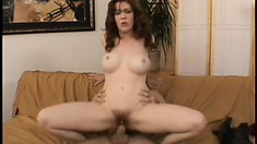 Well-flavored brunette with tasty hairy poon is rampaged by huge penis
