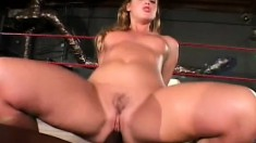 After their sparing match, they both get serviced by a hot blond