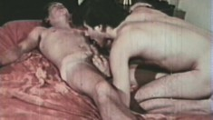 Retro gay porn with four dudes in an orgy of blowjobs and ass fucking