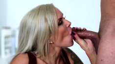 Cum starving blonde milf shared by two big cocks